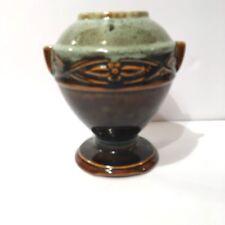Mid Century Hull Art Pottery Vase Green Glaze Tab Handle Urn Vase 1950's