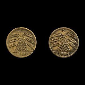 Job Lot of 2 - Germany 5 Rentenpfennig - Weimar Republic Coins