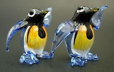 2 Tiny Glass PENGUINS Birds Blue Painted Glass Animal Miniature Glass Ornaments