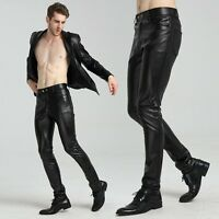 Fashion Rock Mens Pu Leather Black Slim Pants Punk Goth Trousers Steampunk Hot