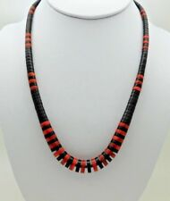 NATIVE AMERICAN SANTO DOMINGO HEISHI JET AND CORAL  NECKLACE