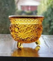 Vintage Amber Daisy And Button Footed Candle Holder Cauldron Trinket Dish