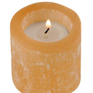 Natural Orange Selenite Crystal Candle Holder Peach Round HANDMADE Reiki Energy