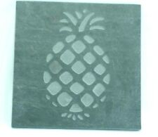 Vintage Handmade Blue Stone Slate Square Tablet with Etching Art of a Pineapple