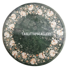 """24"""" Green Marble Side Coffee Table Top Mother of Pearl Floral Outdoor Decor H913"""