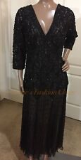 Black 18W Plus Pisarro Nights 3/4 Sleeve Beaded Sequin Drop Waist Long Dress