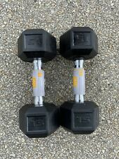 15 lb Dumbbell Pair CAP Hex Rubber 30lb Set - Total Weight 30lbs - FREE SHIPPING