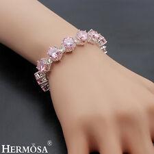 "Hermosa® Xmas Sale 75% OFF 925 Sterling Silver Pink Kunzite Girls Bracelet 7.75"""