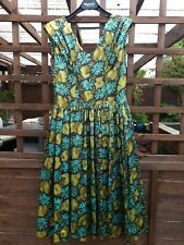 50s True Vintage Peggy Page Abstract Flowery Dance Dinner Swing Dress Green Teal