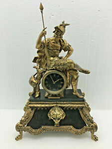 Antique French Japy Freres Warrior Figural Mantel Clock