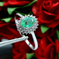 NATURAL 5 X 7 mm. OVAL GREEN EMERALD & WHITE CZ RING 925 STERLING SILVER SZ 9