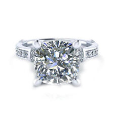 4.25 Ct Near White Cushion Cut Moissanite Engagement Ring 925 Sterling Silver