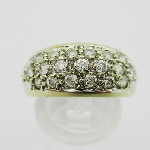 Attractive 9ct Gold & CZ Cluster Ring. Size M