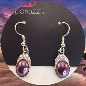 Paparazzi How Fancy Purple Earrings Purple Pearly Dainty White Rhinestone Trim