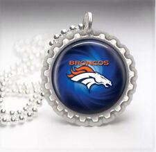 Denver Broncos Silver Bottle Cap Pendant Necklace