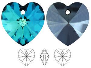 2 SWAROVSKI CRYSTAL XILION GLASS HEART PENDANTS 6228, BERMUDA BLUE, 10 MM
