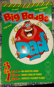 Vintage 3 in one badge, stand, wall plaque big 6 inch baby shower im a dad badge