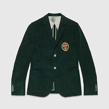 $1950 Gucci Men's Dark Green Cotton Fine Corduroy Formal Jacket 60R 411709 3053