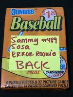 * SAMMY SOSA ERROR ROOKIE SHOWN BACK * 1990 Donruss Baseball Cello Pack, Cubs