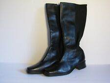 ANDREW GELLER 9 M Black Leather High Stretch Zip Up Riding Boots VOYAGE