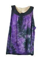Cato  26 28W 4X Purple Black Top Sleeveless Floral Tank Womens Plus Size Blouse