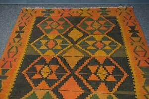 Vintage Handmade Geometric Flat Woven Tradition Wool Kilim Runner Area Rug 4x10