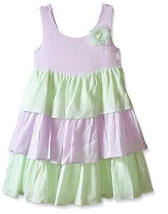 Marmellata Girls Gauze Tiered Sorbet Shades Dress Lavender Mint Flower Size 4