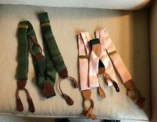 Lot of 2 Vintage Polo Ralph Lauren Suspenders Pink/White and Green Paisley Silk