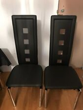 4x Dining Chairs High Back Faux Leather Metal Legs Black