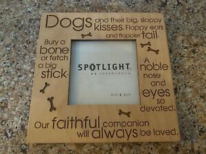 """Spotlight by Lasercrafts Photo Frame Square Engraved Dog Measures 6"""" x 6""""  New!"""