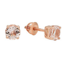 0.95 CT 10K Rose Gold Round Cut Morganite Ladies Solitaire Stud Earrings