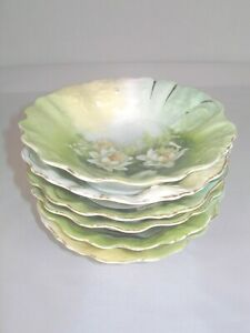 Antique Set of Six Hand Painted Berry Bowls..Shades of Green with White Roses.