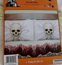 New Halloween plastic pillow cases or Shams set of 2 w/ Skeletons bedroom couch