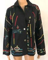 Vintage Chicos Design Womens Jacket Size 2 Black Embroidered All Over Print Coat