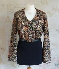 Vintage 90's Chic Leopard Animal Print Long Kimono Sleeves Silky Top/Blouse 8