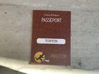 Passeport figurine Tintin n°17906. Tintin. Commune de Moulinsart.