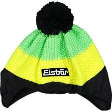 EISBAR Staro Knitted Ski Helmet Cover, Merino Wool Mix - Green/Yellow - One Size