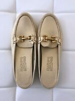 NEW SALVATORE FERRAGAMO Sz 10 Gold Loafers Moccasins Slip-On Leather Shoes Women