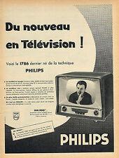 PUBLICITE ADVERTISING 114  1958  PHILIPS  téléviseur
