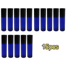 15 Pack Blue Glass Roll On Roller Bottles for Perfume DIY Aromatherapy