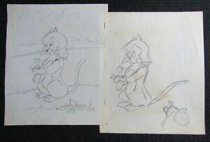 1950's KITTEN TALES Childrens Book Pencil Illustration G/VG 3.0 Cat w/ Birds 2pc