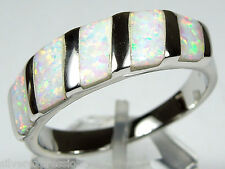 Quality White Fire Opal Inlay Solid 925 Sterling Silver Band Ring Size 6,7,8