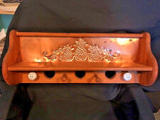 Vintage Stamped Punched Copper Pineapple Wooden Wall Shelf w/ Hearts & Pegs Wood