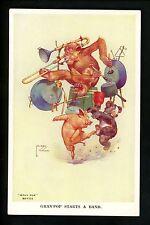 Artist Signed Postcard Lawson Wood Monkey Gran Pop Series 1122 Band Teddy Bear