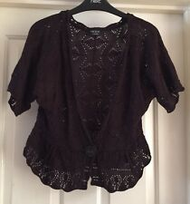 George Brown Cardigan, Lace Knit, Size 14 - Fab!