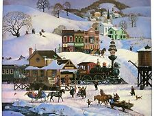 Bob Pettes Home For Christmas, Meeting The Train Large Lithograph Print Folk Art