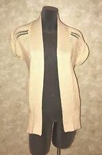 ANN TAYLOR LOFT Long Tunic Open Front S/S Cardigan Sweater Coat Tan Beige XS