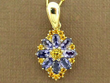 PE095- LUXURIOUS Genuine 9ct 9K Gold Natural Amethyst & Citrine Enhancer Pendant