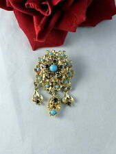 Blue Accents Pin Brooch Cat Rescue Vintage Ornate Gold tone Red &
