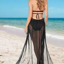 Bandage Mesh Sheer Beach Skirt Bikini Cover Up Split Cardigan Wrapped Sarong HOT